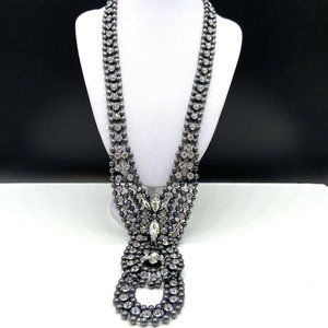 Banana Republic Clear Rhinestone & Gray Necklace